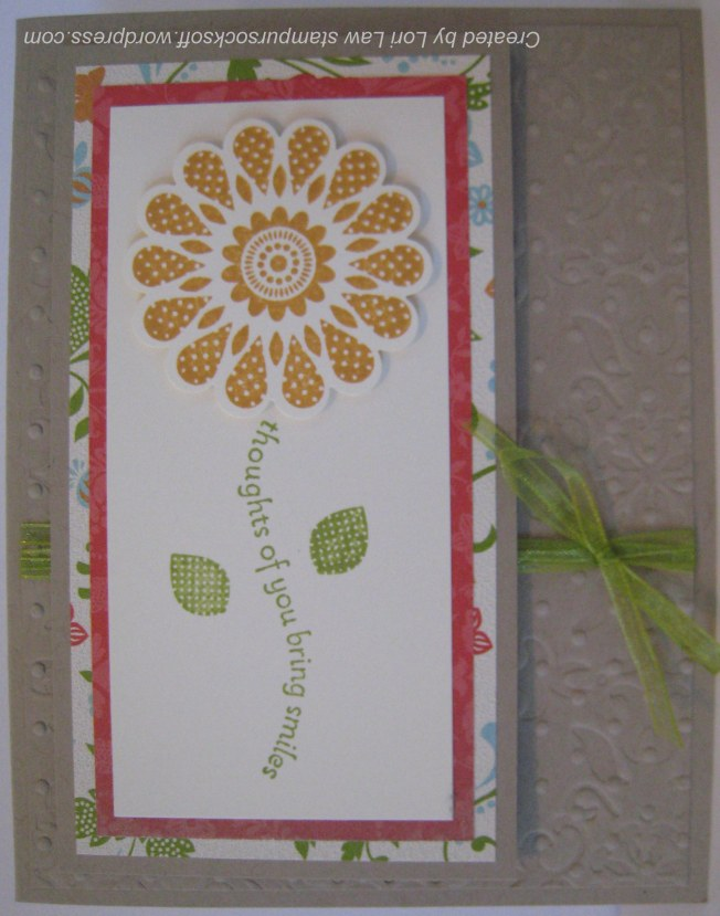 """Polka Dot Pieces"" (SU) Thinking of You card, with double embossed background."